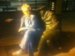 Glenn, get your own park bench. (Fun with statues outside CBC building)